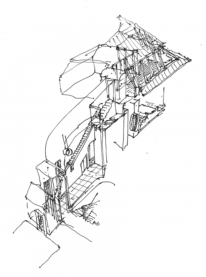 GMMK , Gert M. MAYR-KEBER ZT-GmbH. , Dachausbau Leinwand 1983