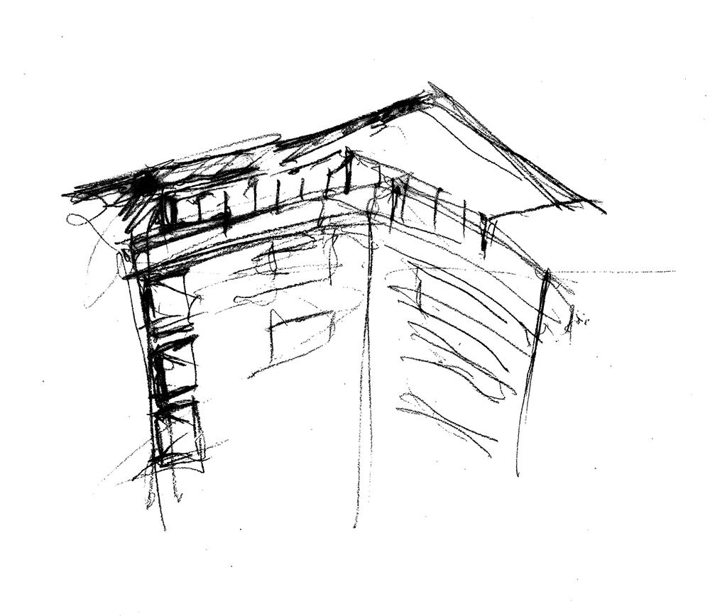 GMMK, Gert M. Mayr-Keber ZT-GmbH, Wohnhaus in Stadlau, 2011-2014, Sketch: Gert M. Mayr-Keber